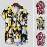 New Mens Printed Chest Pocket Turn Down Collar Short Sleeve Casual Loose Shirt