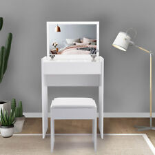 White Vanity Dressing Table Stool Mirror Jewelry Cabinet for Dressing Makeup