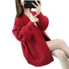 Women Twist-Knit Sweater Cardigan Oversize Autumn Casual Loose Knitwear Jacket B