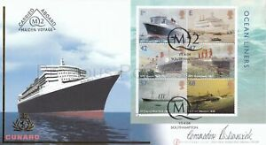FIRST DAY COVER FDC 2004 STAMP SHEET CUNARD QUEEN MARY 2 MAIDEN VOYAGE SIGNED