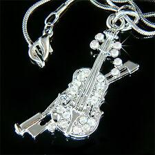 w Swarovski Crystal Fiddle ~VIOLIN Bow Music Musical Pendant Chain Necklace XMAS