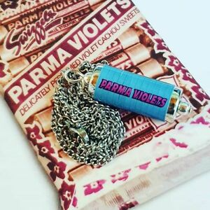 Handmade PARMA VIOLETS NECKLACE miniature food CANDY retro SWEETS violet TUBE