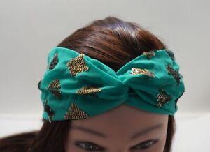 GREEN Turquoise Chiffon Turban Twisted w/ Gold Sequin Beads Headband AC24F-3/22