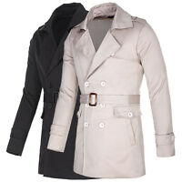 Mens Trench Long Coat Double Breasted Pea Coat Winter Outwear Jacket Overcoat