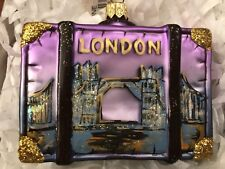 NWT Nordstrom At Home LONDON ENGLAND Suitcase Luggage Glass Ornament City Scenes