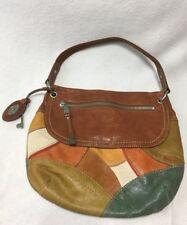 Fossil Tan Olive Aqua Leather Patchwork Purse Key Hangtag Fob Long Live Vtg