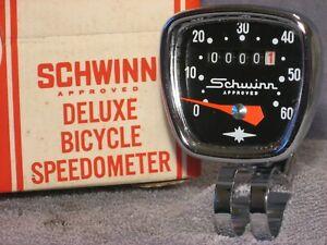 VINTAGE SCHWINN APPROVED CHROME BIKE SPEEDOMETER HEAD HURET BICYCLE SPEEDO