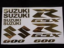 GOLD CHROME GSXR 600 10 PIECE  DECAL SET, suzuki gixxer fairing tank s tail