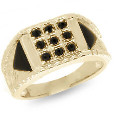 Natural Onyx 9ct 9k 375 Solid Gold Gents Mens Crest Ring - Bravo Jewellery