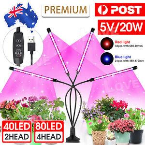 2/4 Head LED Grow Light Plant Light Panel Growing Plant Veg Flower Indoor Lamp