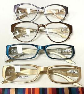 JM New York +3.50 Mixed Lot Of 4 Reading Glasses For Women Spring Temple Readers