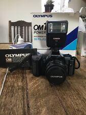 New Olympus OM101 Power Focus 35mm film + Two Lenses + Flash Gun + Leather Strap