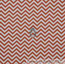 BonEful Fabric Cotton Quilt Orange White Chevron Holiday Stripe Retro Sale Scrap