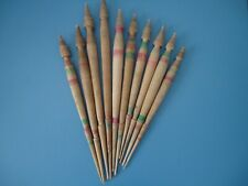 Lot of 10 antique wooden spindles for spinning wool