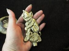 """COLLECTABLE VINTAGE BRASS IMP WALL HANGING WITH THREE NAIL HOOKS 4.5"""" HIGH"""
