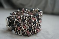 "NEW Uno De 50 Silver Pink Taupe Murano Glass MADNESS 2"" Thick Wrap Bracelet 7.5"