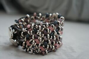 """NEW Uno De 50 Silver Pink Taupe Murano Glass MADNESS 2"""" Thick Wrap Bracelet 7.5"""