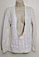 525 America Sweater Small White Crochet Knit V Neck Long Sleeves 100% Cotton