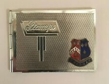 CHROME PLATED STAMP CASE WITH CHEDDAR ENAMEL PLAQUE ART DECO