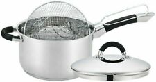 QUALITY STAINLESS STEEL INDUCTION DEEP CHIP PAN FRYER POT WITH LID & BASKET