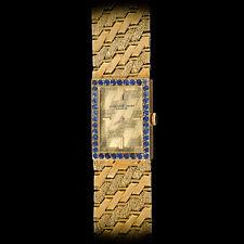 Audemars Piguet 18K YG Ladies Manual Florentine Bracelet Watch w/ Blue Sapphires