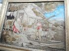 NICE OLD 1700s  Antique French OR ENGLISH Silk  Needlework FISHERMAN, In Frame A