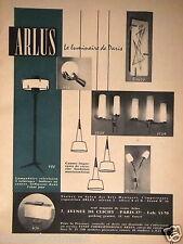PUBLICITÉ 1961 ARLUS LAMPADAIRE TÉLÉVISION APPLIQUE LUMINAIRE - ADVERTISING