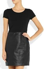 Theory Womens Sheath Dress- Black Solora Stretch-Cotton and Leather - SZ 4