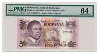 BOTSWANA banknote 5 Pula 1982 PMG MS64