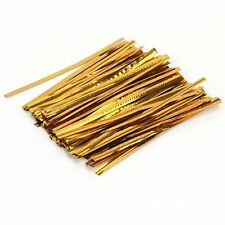 100 Pcs Gold Metallic Twist Ties for Cello Candy Bags Party 8cm AD
