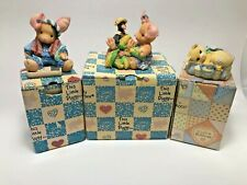 Enesco Lot Of 3 Calico Kitten Bag of Tricks Little Piggy Had None/Nothin Corny