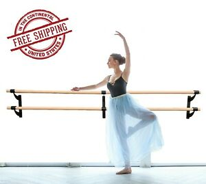 """Double Wood Ballet Bar 1.5"""" Fixed Height Wall Mounted Barre System 3' to 40' Ft"""