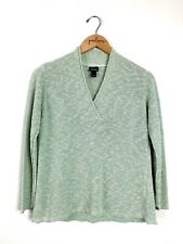 Eileen Fisher Sage Green Linen V-Neck Pullover Sweater Size Small PS