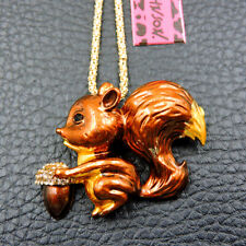 Betsey Johnson Brown Crystal Enamel Squirrel Chain Necklace Brooch Fashion Jewel