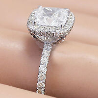 14K WHITE GOLD CUSHION FOREVER ONE MOISSANITE AND DIAMOND ENGAGEMENT RING 2.40CT