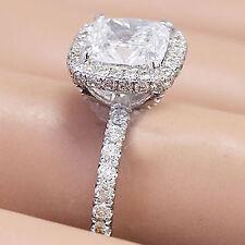 14K WHITE GOLD CUSHION CUT MOISSANITE AND DIAMOND ENGAGEMENT RING BRIDAL 2.40CT
