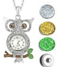 Silver Crystal Enamel Owl Pendant Necklace Watch Interchangeable Watch Set 4