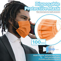 [Orange] 100 Pcs Disposable Face Masks 3-Ply Non Medical Surgical Earloop Cover