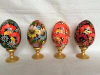 Hand painted Goose wooden eggs Easter decoration Ukraine gift poppy flowers