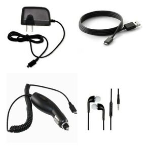 CAR+ 2 AMP HOME CHARGER+MICRO USB CABLE+STEREO HEADSET FOR NOKIA LUMIA 635