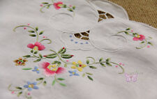 Dainty White HAND Embroidered Floral Cotton Doily Table Runner 35x16""