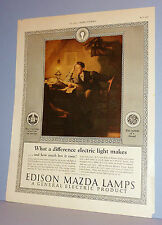 NORMAN ROCKWELL April 1925 EDISON - MAZDA LAMP Ad Only ~ WHAT A DIFFERENCE LIGHT