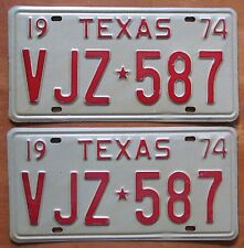 Texas 1974 License Plate PAIR - SUPERB QUALITY # VJZ-587