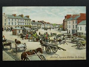 Ireland Galway CLIFDEN Market Place MARKET DAY & TIMBER CART c1909 Postcard