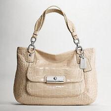 NWT Coach Kristin Embossed Croc Zip Top Tote Handbag in Silver/Sand $698#17081