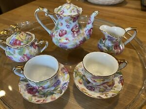 Vintage 7 Piece Miniature Tea Set By Royal Cotswolds In English Tradition Tulips