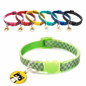 Pet Dog Highlight Check Reflective Cat Head Safety Buckle Collar Puppy Neck Ring