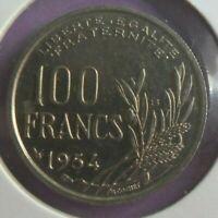 100 Francs Cochet 1954 B : TTB : pièce de monnaie Française N6