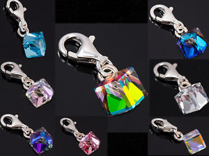 CHARMS 925 Sterling Silver - with CUBE SWAROVSKI - 8 Colours  Charm Bracelets