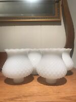 Vintage Hobnail Milk Glass Wall Sconce Lamp Shade White Globe Lot of 4